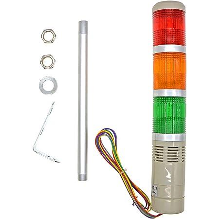 Baomain Alarm Warning Flash Light 24 VDC Industrial Buzzer Red LED Signal Tower Lamp