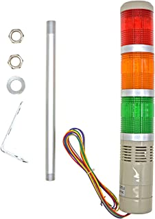 YXQ Industrial Signal Light DC 24V Red Yellow Green LED Alarm Tower Indicator Continuous lamp Warning Light with Buzzer