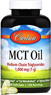 Carlson - MCT Oil, Medium-Chain Triglycerides, 1000 mg, Supports Energy Production & Fat Metabolism, 120 Softgels