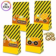 QMZ Constructions Truck Candy Gift Bags Party Favor Treat Bags Birthday Theme Supplies with Stickers Set of 24