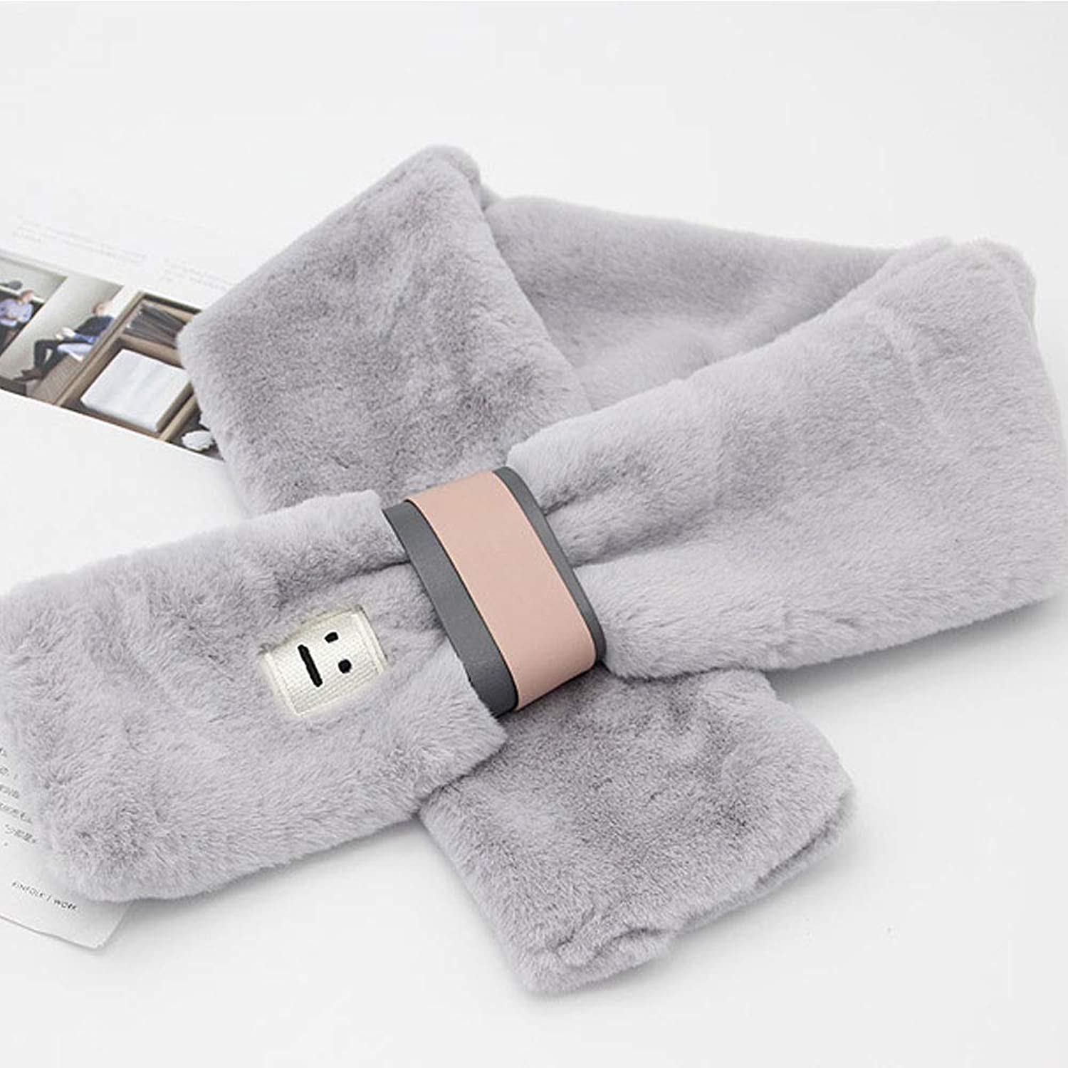 LBY Scarf Female Winter Soft Sister Imitation Fur Small Fresh Plush Bib Scarf (color   color 2)