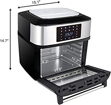Air fryer oven series size, 16.9 quart 1800W, all-in-one air fryer oven, barbecue, dehydrator, oil-free cookware, 8 cooking presets, 9 accessories LED touch screen automatic shut-off safety device