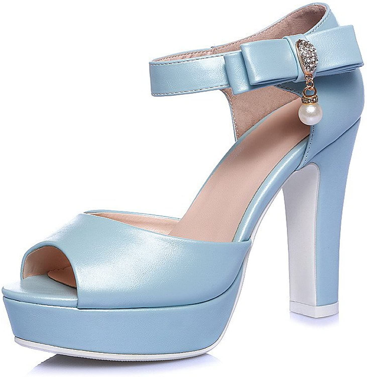 AmoonyFashion Women's High-Heels Soft Material Solid Buckle Peep Toe Sandals with Bows