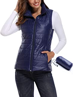 Padded Vest for Women Lightweight Full Zip up Stand Collar Packable Quilted Gilets Outwear Coat