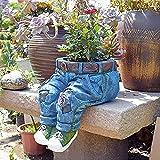 Gartendeko Blumentöpfe,Topf für Blumen und Pflanzen,Jeans Blume Harz Pflanzkübel dekorativer Topf für Pflanzen,Gartenstatuen Ornamente für Garten Terrasse (A)