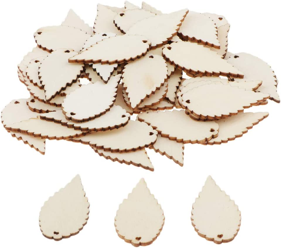 LoveinDIY Unfinished Wood Cutout - 50-Pack Leaves Shaped Wood Pieces for Wooden Craft DIY Projects, Gift Tags, Home Decoration, 2.0 x 1.0 inches