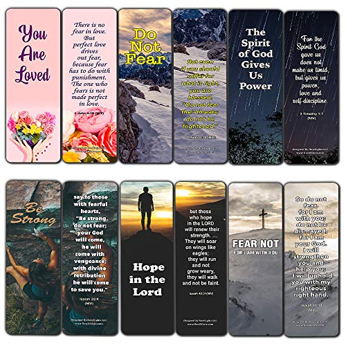 Bible Verses About Anxiety Bookmarks (12-Pack) - Church Memory Verse Sunday School Rewards Trust in God - Christian Stocking Stuffers Birthday Party Favors Assorted Bulk Pack
