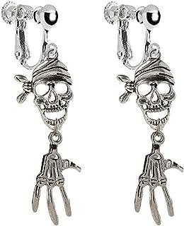 Vintage Pirate Skull and Skeleton Hand Clip on Dangle Earrings Tassel for Girls Women (Antique Silver)