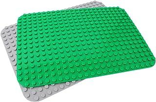 INIBUD 基礎板 ブロック プレート デュプロと互換性 角が丸い 24×17ポッチ グリーン グレー 2枚セット