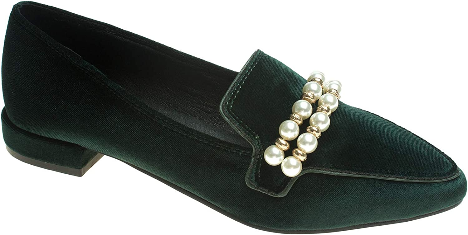 AnnaKastle Womens Pearl-Embellished Loafer Flat Slip On shoes