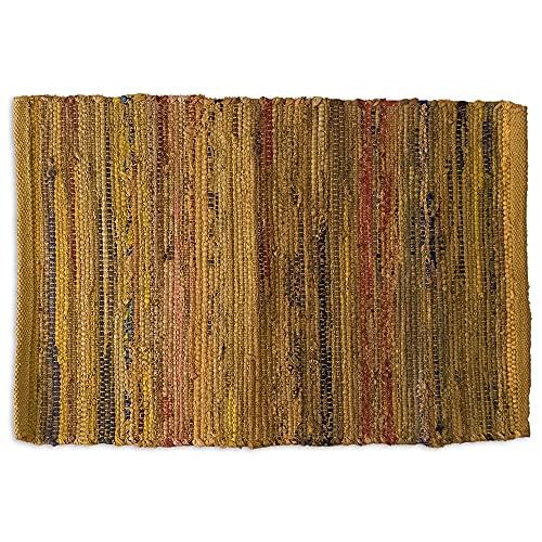 LAMARE Tapis Hem - Couleur Jaune - 40 x 60 cm - 100% Coton Naturel
