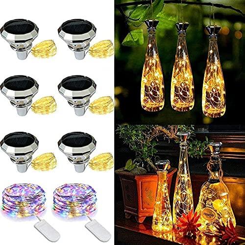 ADLOASHLOU 6 Stück Solar Flaschen Licht 20 LEDs 2M Solar Lichterkette für Flasche LED Diamant Stimmungslichter Solar Weinflasche Kupferdraht mit 2 Stück Knopf Lichterkette für Flasche DIY, Dekor warm