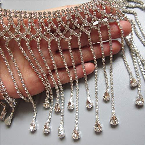 30CM/Lot Bling Diamante Crystal Rhinestone Chain Diamond Trim Ribbon Tassel Fringe Gem Sparkle Wedding Bridal Necklace Prom Evening Dress Applique Party Show Accessories Sash Belt Headwear Craft