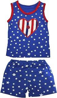Petitebella Girls' 6Th RWB Heart Patriotic Stars Red Cotton Shirt Short Set