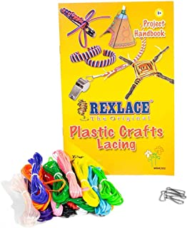 Rexlace Plastic Crafts Lacing Super Value Pack - 200 Feet of Plastic Lacing, 5 Lanyard Snaps, Colorful Project Handbook