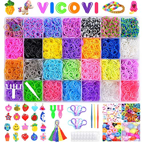 VICOVI 11900+ Rubber Bands for Kids Bracelet Making Craft -11000pc Rubber Bands in 28 Different Colors + 600 Clips + 210 Beads + 54 Lovely Charms