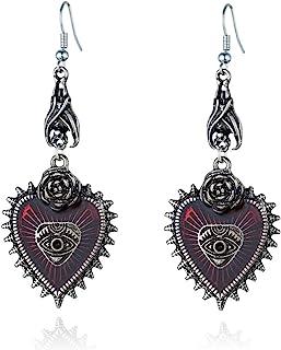 Punk Rock Bat Gothic Evil Eye Red Heart Earrings for Women Halloween Cosplay