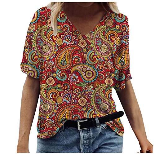Camisetas Manga Corta Mujer Baratas Casual T-Shirt con Estampado Verano Originales Suelto Cuello Redondo Tallas Grandes Tops Deporte Blusa Camisa de Vestir tee Shirts Basicas (#20 Amarillo, XXL)