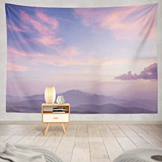 Nature-Landscape KJONG Decorative Tapestry,Purple Sky Mountains and Clouds Pastel Scenery 60X80 Inches Wall Hanging Tapest...