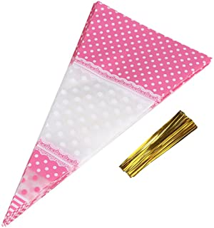 50Pcs Triangle Clear Cone-Shaped Treat Bags with Twist Ties Popcorn Bags Treat Bags Cellophane Candy Bags, Crafts (Pink)