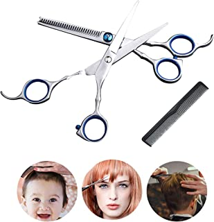 Hair Scissors,Professional Hair Cutting Shears,Stainless Barber Scissors Set, Hairdressing Scissors,Thinning, Texturizing, Salon or Home Use with Black Storage Case