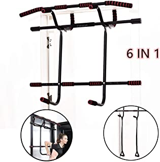 Estelys 6 in 1 Pull-Up Bar Doorway Trainer, Dip Bar & Power Ropes, Chin-Up Bars for Door Frames Without Screws/Drilling, Foldable