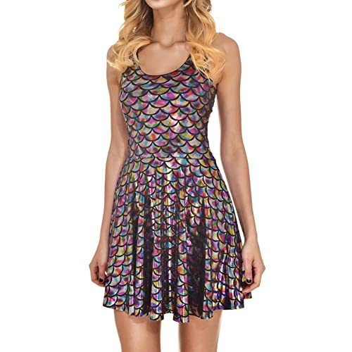 Jescakoo Women s Shiny Mermaid Sleeveless Short Tank Dresses 679c959a2