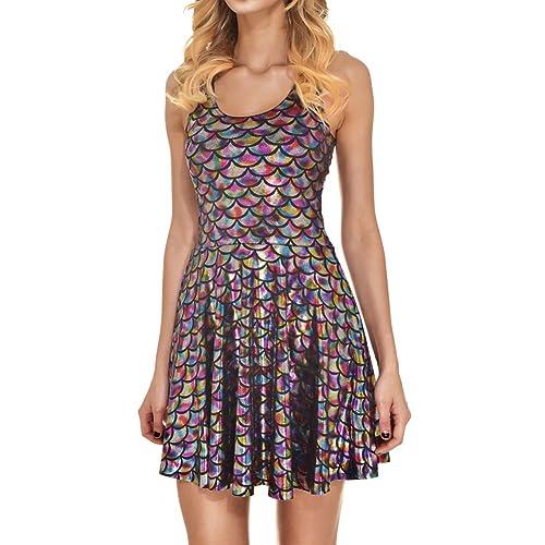 ad1f6fb5359a Jescakoo Women's Shiny Mermaid Sleeveless Short Tank Dresses