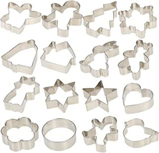 Esonmus 16pcs/set Multifunctional Christmas 304 Stainless Steel Cookie Cutters Heart Gingerbread Man Snowflake Star Shaped DIY Fondant Cake Decoration Molds Fruit Chocolate Cutters
