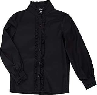 SCARLET DARKNESS Girls Victorian Blouse Ruffle Long Sleeve Button Down Shirts Princess Cotton Tops 6-12Y