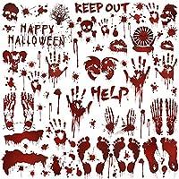 Über 80 Stück Halloween Fenstersticks: verschiedene blutige Handabdrücke, Fußabdrücke, Blutspritzer, Happy Halloween, draußen bleiben, helfen, insgesamt 8 Bögen, muss für Zombie-Partydekorationen und Halloween-Fensterdekorationen, Karneval, Spukhausp...