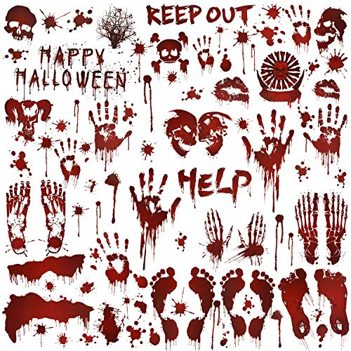 HOWAF 80+pcs Halloween Creepy Bloody Hands Window Stickers Handprint Decals Footprint Window Clings with Blood Splatter for Haunted Houses Window Decorations Halloween Party
