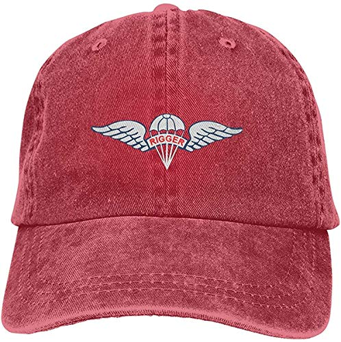 Us Army Fallschirm Rigger Flügel Abzeichen Verstellbar Vintage Washed Denim Baumwolle Dad Hat Baseball Caps Outdoor Sonnenhut Rot