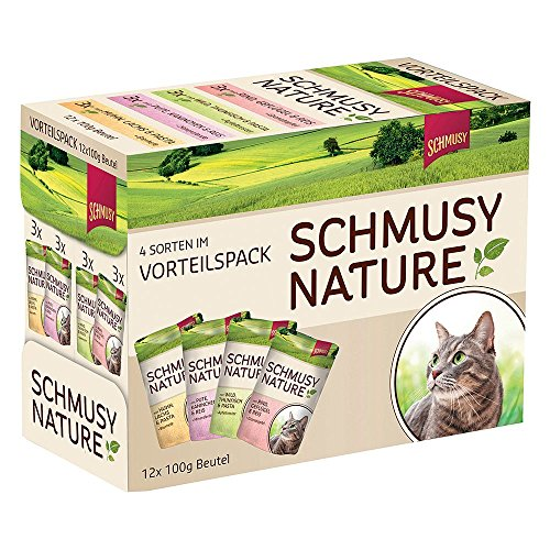 Schmusy Nature Pouch, Multipack Huhn+Rind+Pute+Wild