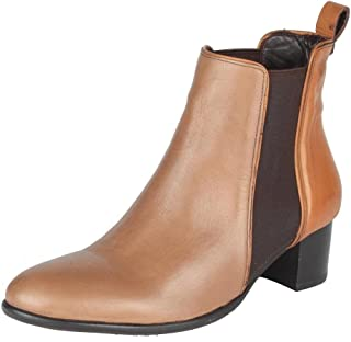 Salt N Pepper Sophie Taupe Leather Almond Women Clog Ankle Boots