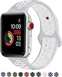DOBSTFY Sport Bands 42mm 44mm,Soft Silicone Sport Band Replacement Wristband Compatible for iWatch Series 1/2/3/4, Ni ke+, Sport, Edition, 42mm 44mm S/M - Pure Platinum/White