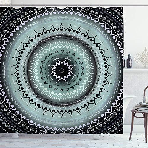 ABAKUHAUS Mandala Duschvorhang, Vintage Mandala Kreise, Wasser Blickdicht inkl.12 Ringe Langhaltig Bakterie & Schimmel Resistent, 175 x 200 cm, Blau Schwarz