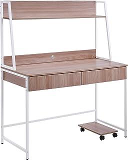 HAZYJT Bureau, Table d'ordinateur, Table de Bureau, Table PC avec 2 tiroirs, étagères pour Livres, Table de Bureau en Bois...