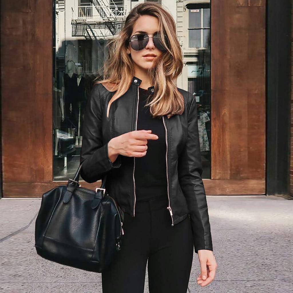 2020 Herbst Winter Damen Slim Reißverschluss Leder Kleidung Windjacke Lederjacke Mantel Leichtgewicht Einfarbig Jacke Schwarz