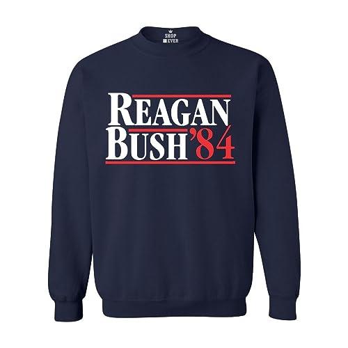 60c24c42a Shop4Ever Reagan Bush 84 Crewnecks Presidential Campaign Sweatshirts