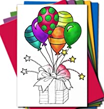 Art Eclect Adult Coloring Greeting Cards for Birthday, Anniversary and Every Occasions (10 Cards With 10 Different Unique Designs and 10 Colored Envelopes Included, Set A/Rainbow)