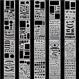 20枚入 テンプレート 手帳 ステンシルシート 10x18cm 描画テンプレート 製図 プラスチック DIYアルバム