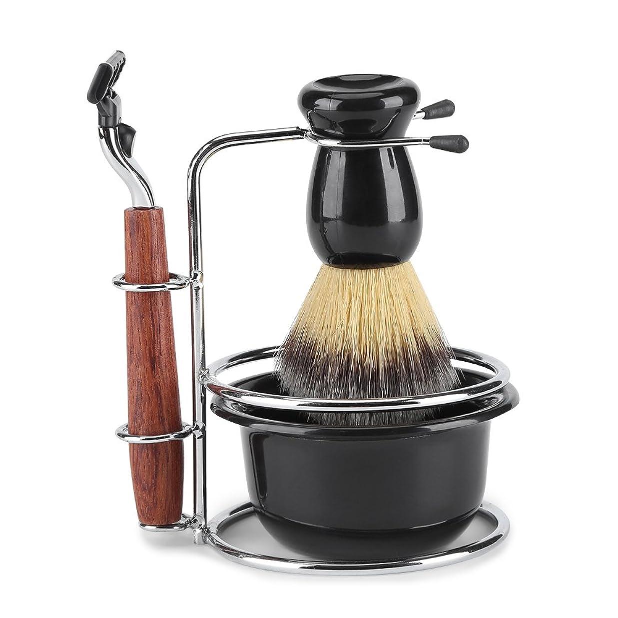 ジーンズきれいにぴかぴかシェービングキット 4-in-1 ひげ剃りツールセット マニュアルスタンドホルダー ウェットシェービングキット ステンレススチール