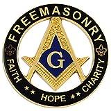 Faith Hope Charity Square & Compass Round Masonic Auto Emblem - [Black & Gold][3'' Diameter]