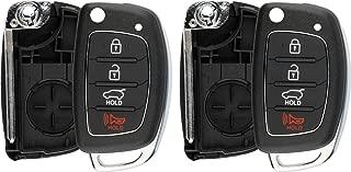 KeylessOption Keyless Entry Remote Flip Key Fob Shell Case Cover Button Pad for Hyundai Sonata Tucson Santa Fe (Pack of 2)