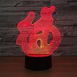 Chinesisches Schriftzeichen Fu Fu visueller Notenschalter buntes Nachtlicht Tischlampenbabyschlafen-Nachtlicht