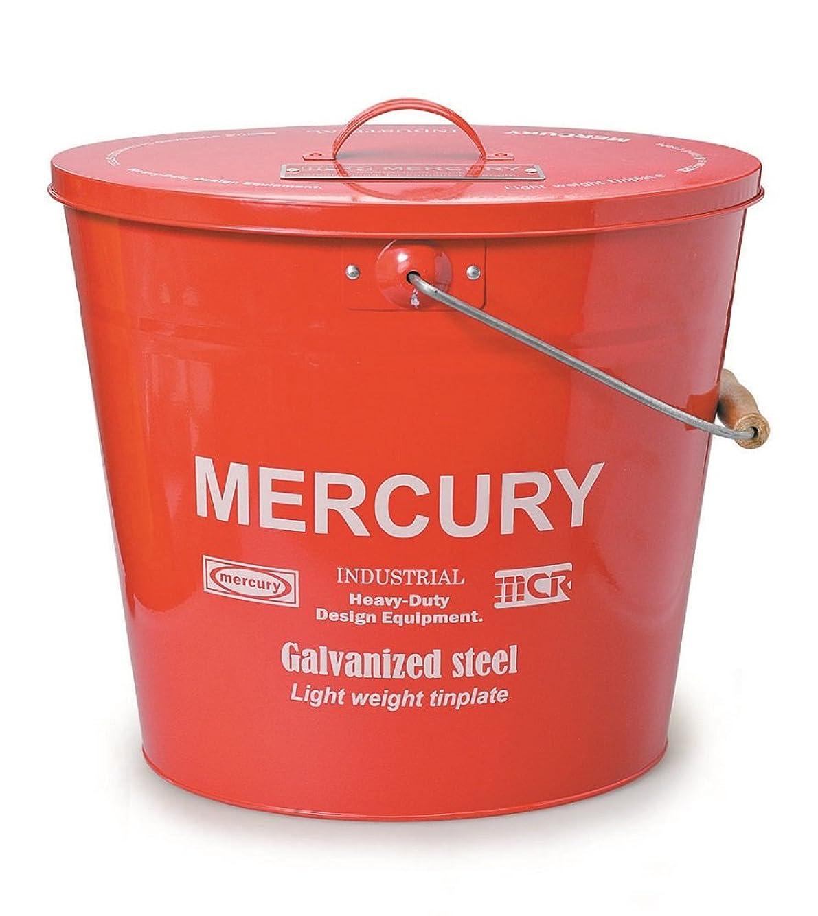 インペリアルグリーンランド牛肉MERCURY マーキュリー オーバル バケツ フタ付き ブリキ製 ゴミ箱 RED レッド