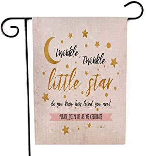 Capsceoll Garden Flag Outdoor 12.5X18 Inch Double Sided Twinkle Little Star with Cute Gold and Moon Girl Boy Baby Shower Card Invitation Template Decorative Yard Flag for Autumn Halloween Christmas