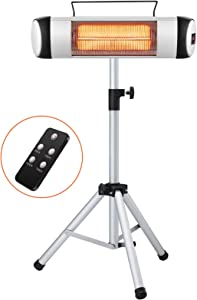Kismile Electric Patio Heater,Portable Outdoor Heaters,Infrared Patio Heaters for Indoor/Outdoor use,Freestanding Wall Heater,500W-1500W Adjustable Heating Modes with Display and Switch