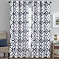 H.VERSAILTEX Blackout Curtains for Bedroom 84 Inch Length - Light Blocking Thermal Insulated Printed Grommet Panels/Drapes for Living/Dining, Noise Reducing Energy Saving (Set of 2, Dark Blue & Grey)